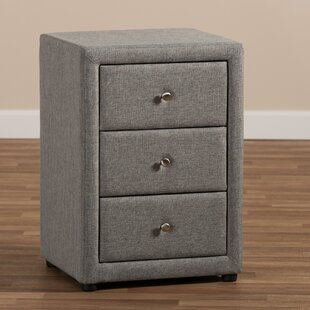 Mauk Fabric Upholstered 3 Drawer Nightstand by Red Barrel Studio