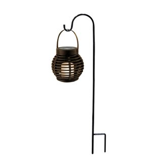 Great Lombardi LED Lantern With Shepardu0027s Hook Metal Garden Stake