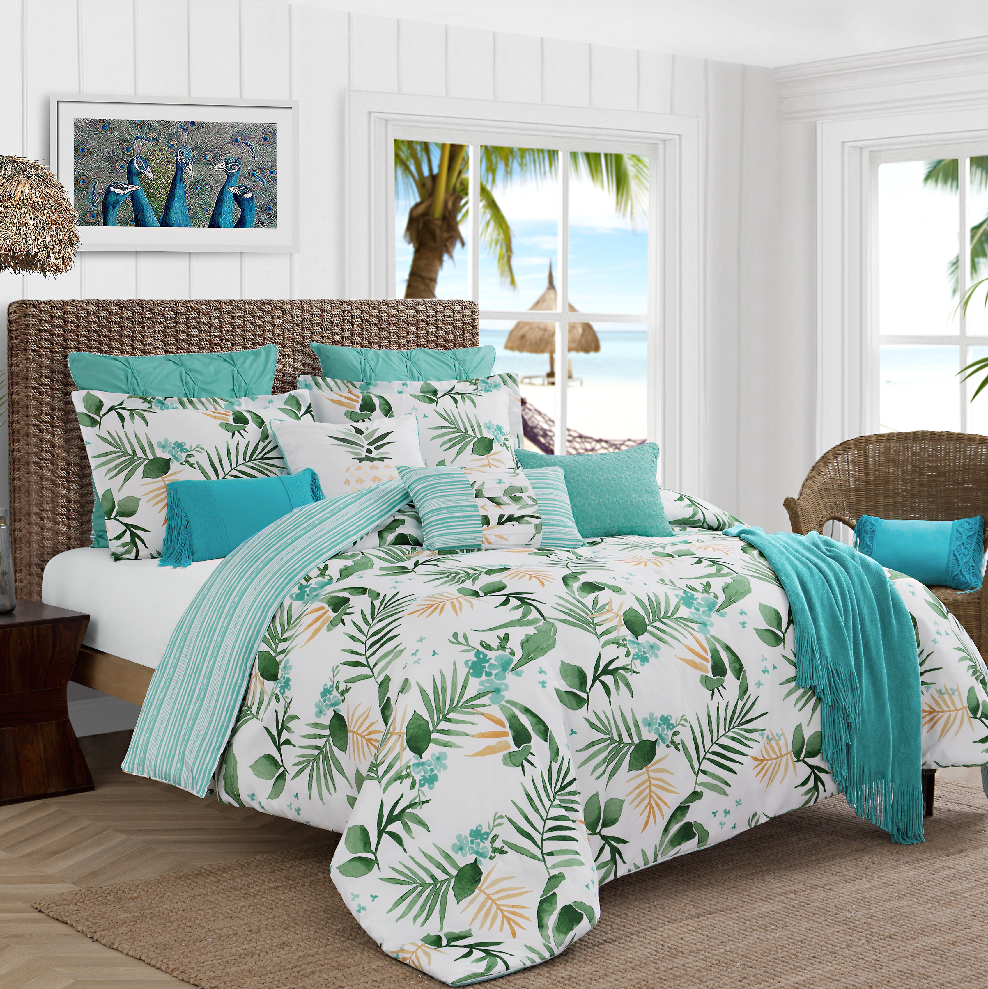 Caribbean Joe Nasau Tropical Leaves Reversible Comforter Set Reviews Wayfair Perfect for quilting, craft projects, toys and accessories. nasau tropical leaves reversible comforter set