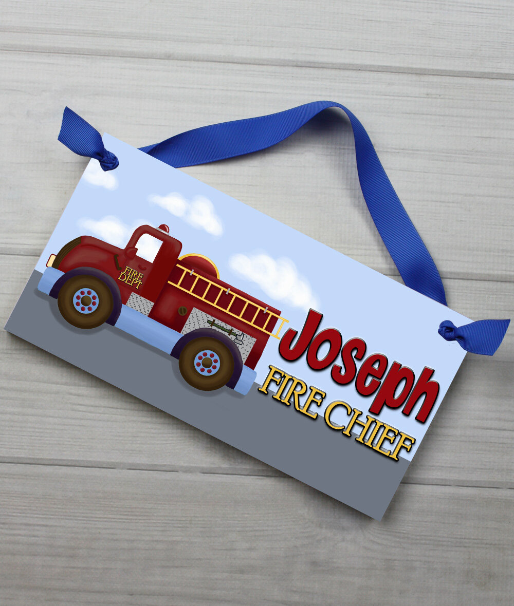 Toad And Lily Fire Truck Bedroom Personalized Door Sign Reviews Wayfair