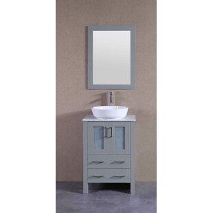 Reviews Fries 24 Single Bathroom Vanity Set with Mirror ByHighland Dunes