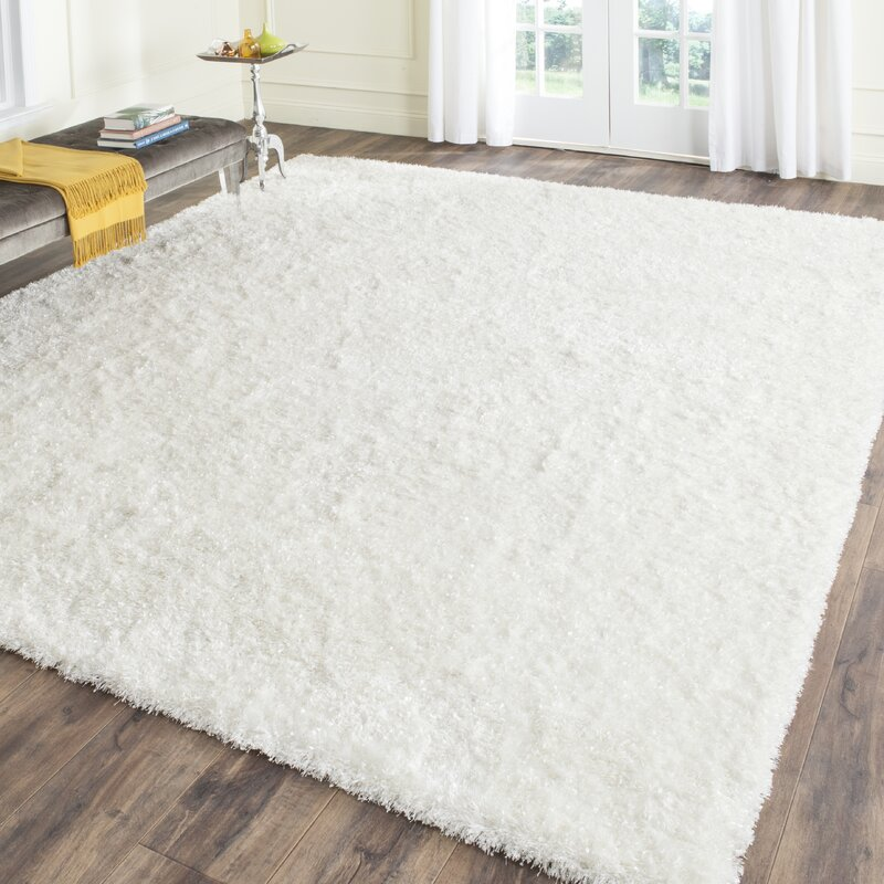 Chesa Hand Tufted Hooked White Area Rug