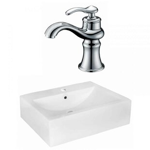 Xena Farmhouse Semi-Recessed Ceramic 20.25 Rectangular Wall Mount Bathroom Sink with Faucet and Overflow Royal Purple Bath Kitchen