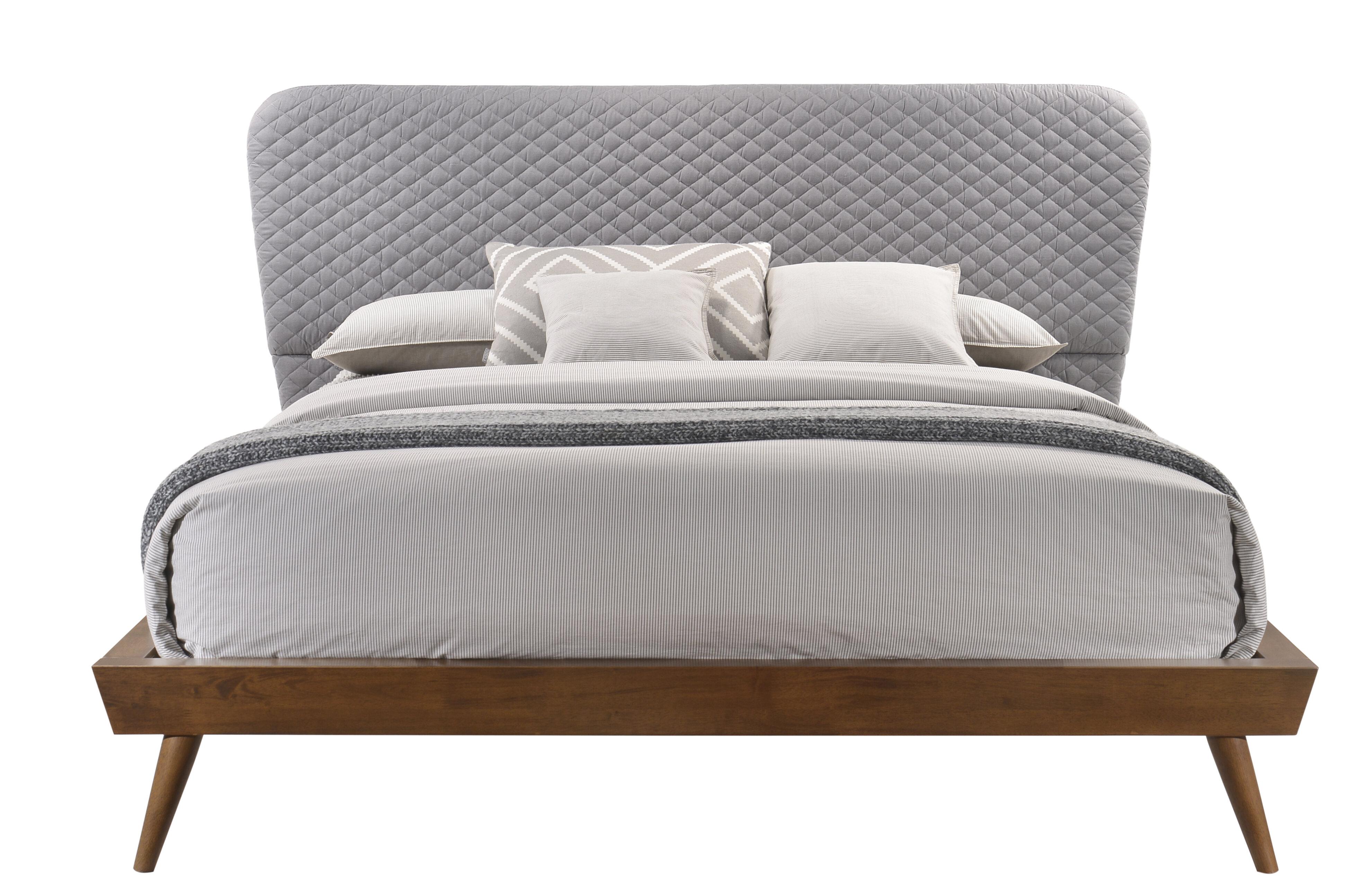 mid century wood bed