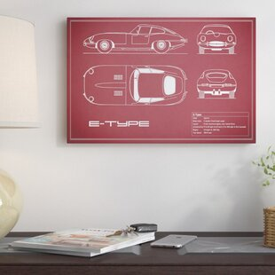 'Jaguar E-Type Series 1 Coupe' Graphic Art Print on Canvas in Maroon By East Urban Home