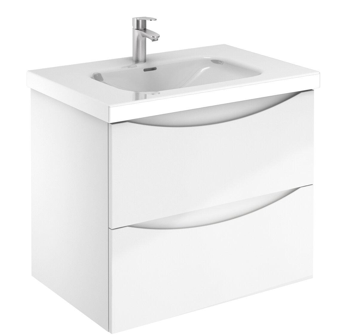 Corrigan Studio Tania 2 Drawer 28 Wall Mounted Single Bathroom Vanity Set Wayfair