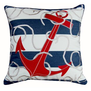 Sudie Anchor Embroidered Outdoor Throw Pillow