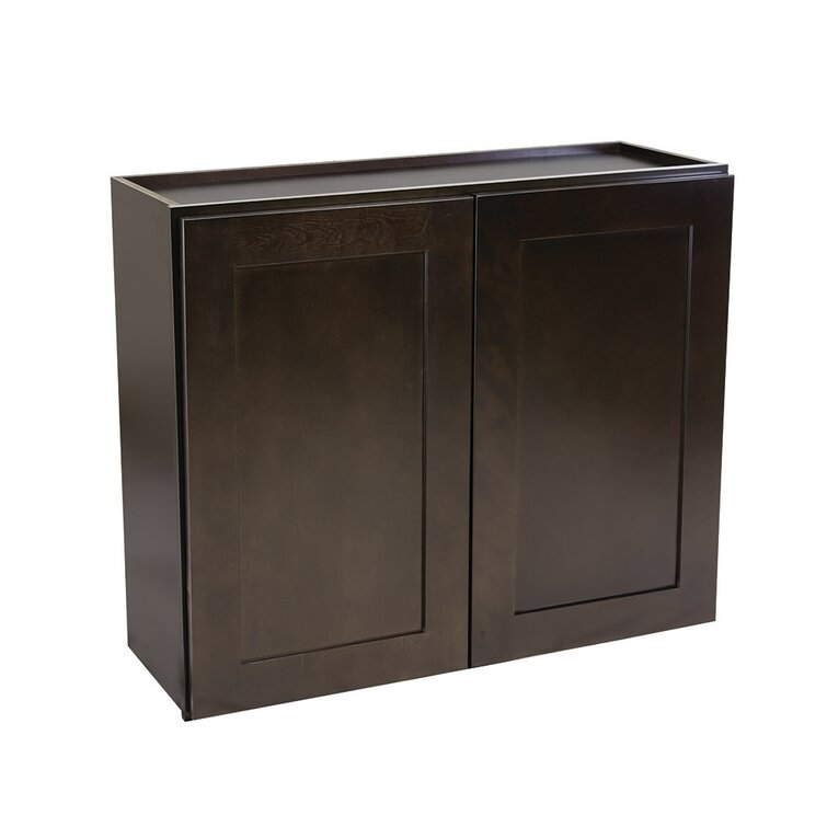Ebern Designs Frits Fully Assembled 27x36x12 In Shaker Style Kitchen Wall Cabinet 2 Door In Espresso Wayfair