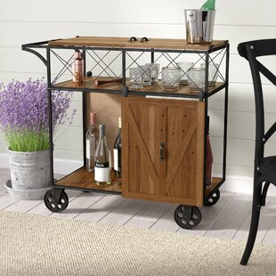 Josiahs Rustic Barn Door Rolling Bar Cart