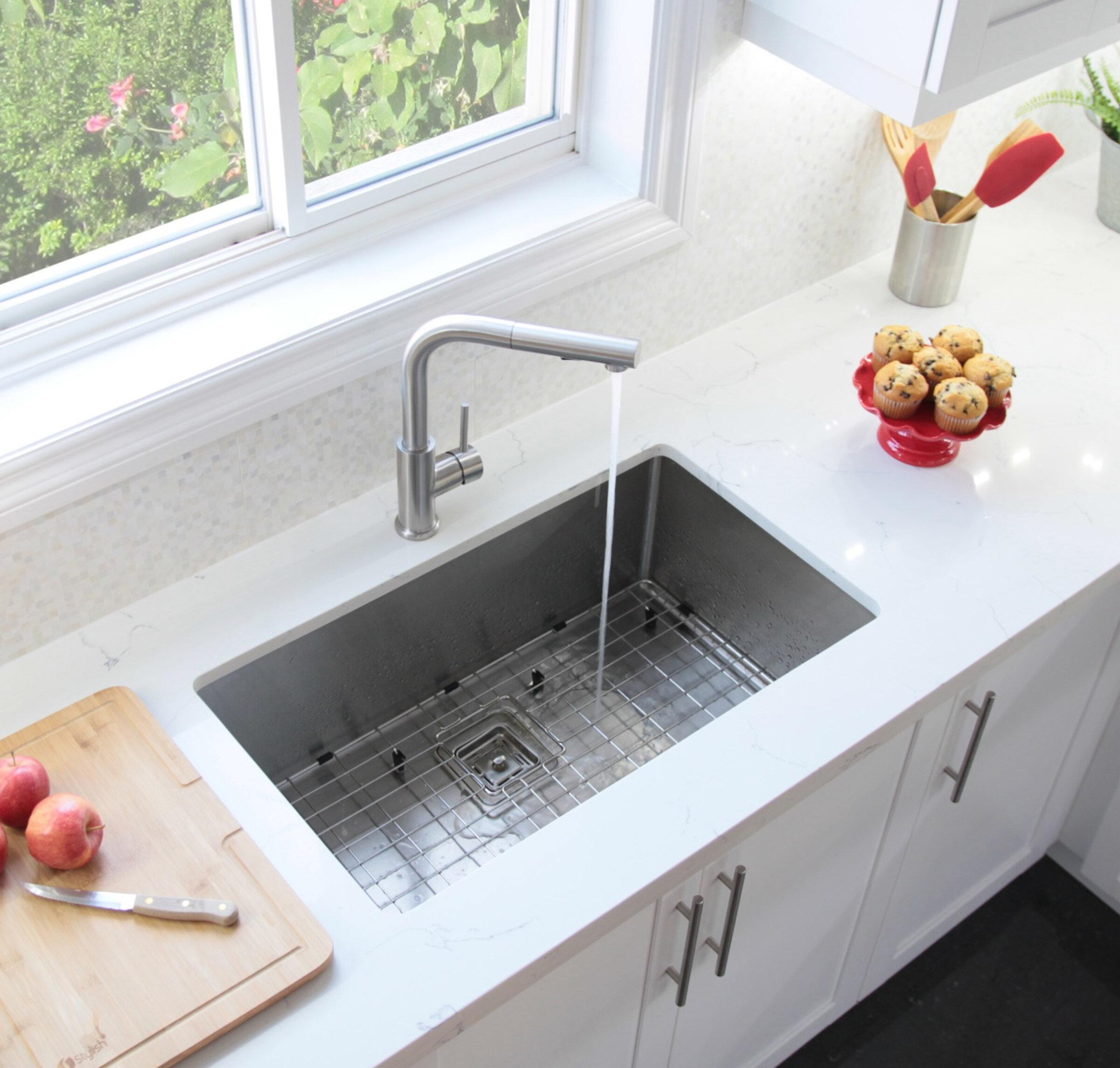 Stylish 30 L X 18 W Undermount Kitchen Sink With Basket Strainer Wayfair