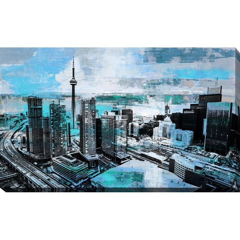 Latitude Run Toronto City View Iv Graphic Art Print On Wrapped Canvas Wayfair