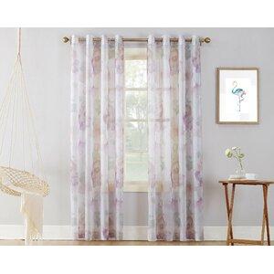 Andorra Watercolor Floral Sheer Grommet Single Curtain Panel