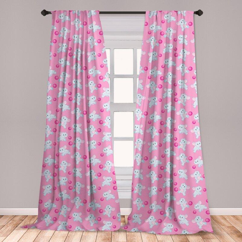 Elephant Pattern Curtains 2 Panel Set Decoration 5 Sizes Window Drapes