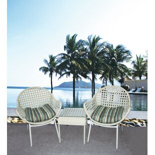 Grimm 3 Piece Rattan Conversation Set with Cushion