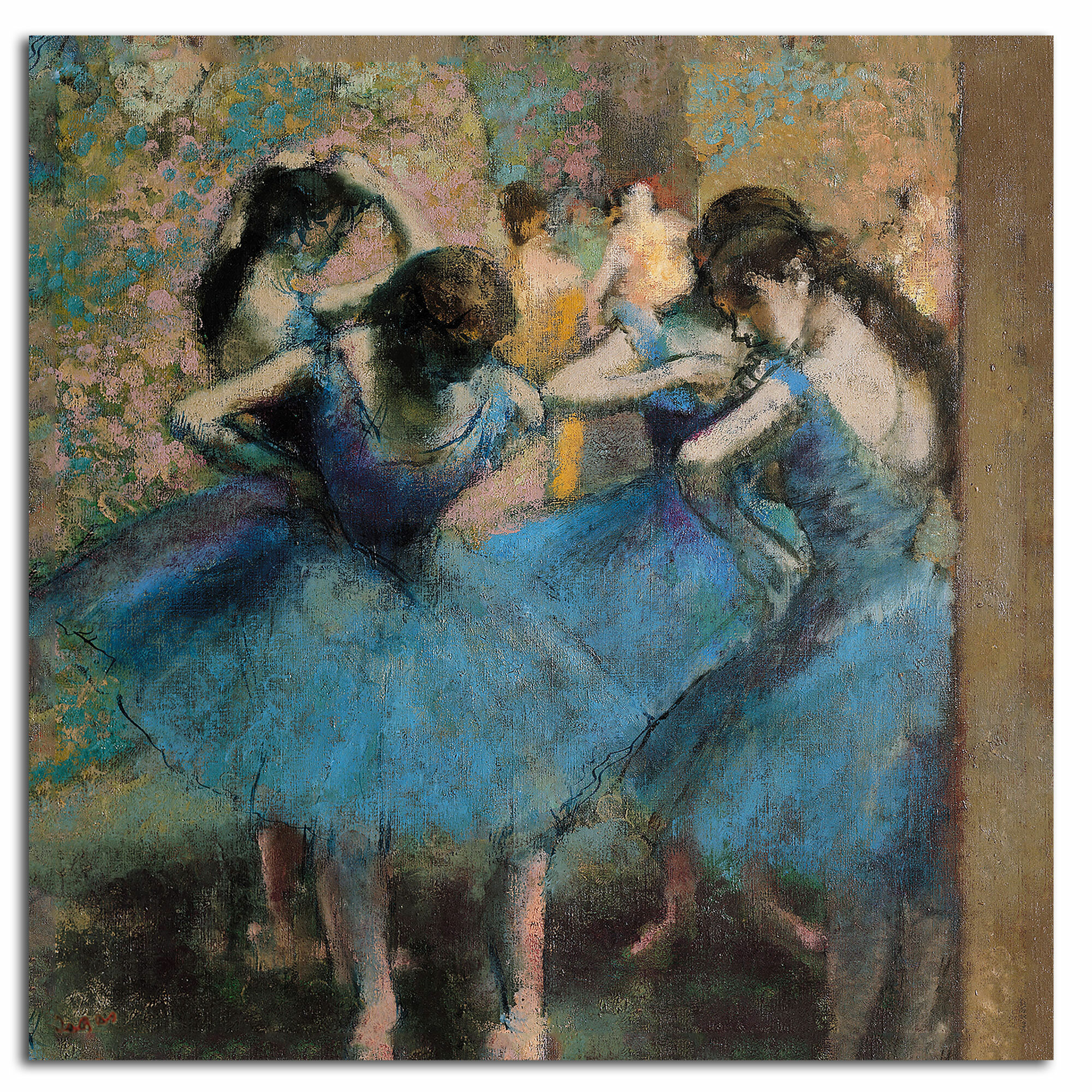 BALLET DANCER WITH HANDS ON HIPS EDGAR DEGAS PAINTING ART REAL CANVAS PRINT