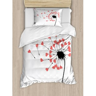 Modern Dandelion Petals Heart Florets Buds Romantic Spring Love Valentines Graphic Duvet Set by Ambesonne
