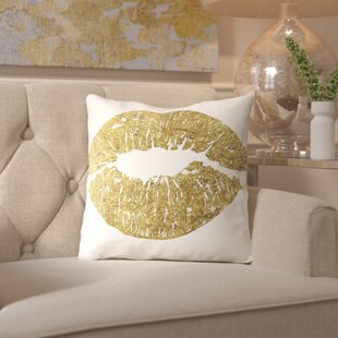 Peach & Golden Lips Throw Pillow