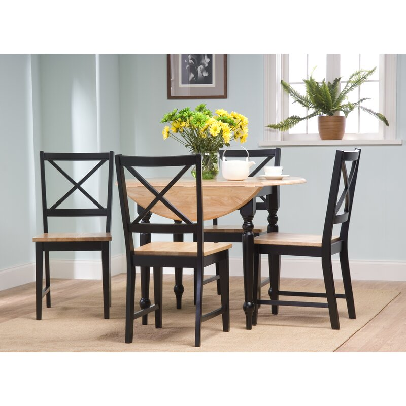 Silver Dining Table And Chairs, Powe 5 Piece Drop Leaf Solid Wood Dining Set Reviews Joss Main