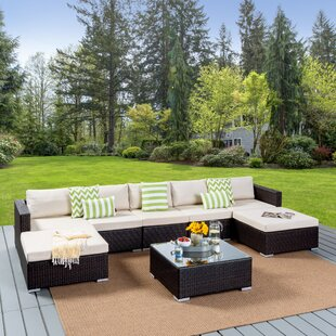 Dierking 8 Piece Rattan Sectional Seating Group with Cushion