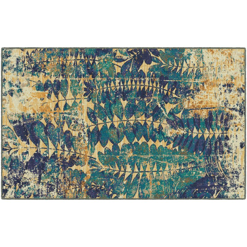 Ivy Bronx Carnanreagh Blue/Beige Area Rug, Size: Rectangle 76 x 10