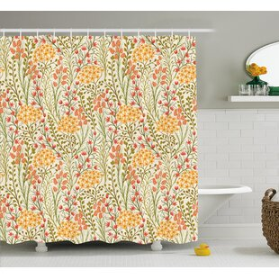 Zosia Leaves Flowers Old Vintage Ivy Design With Plants Nature Theme Art Print Single Shower Curtain by Astoria Grand #2