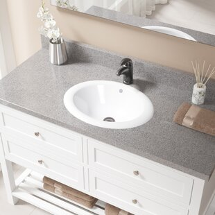 Vitreous China Oval Drop-In Bathroom Sink with Overflow with Drain Assembly ByMR Direct