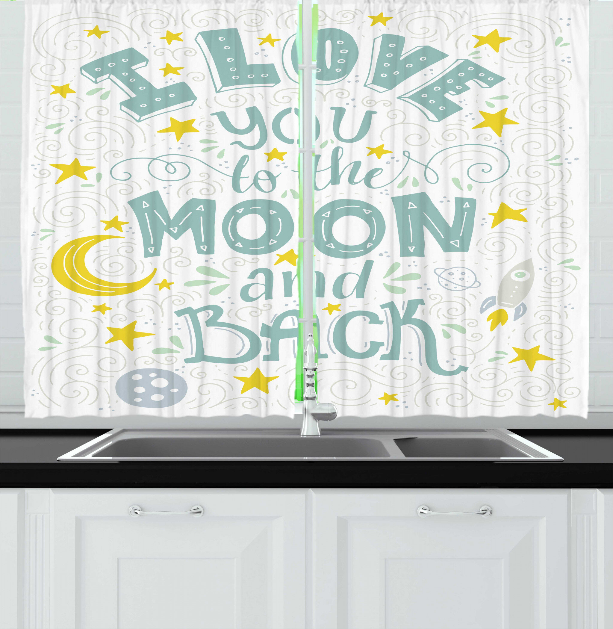 East Urban Home 2 Piece I Love You To The Moon And Back Crescent Moon Planets Stars Rocket Planets Galaxy Kitchen Curtain Set Wayfair