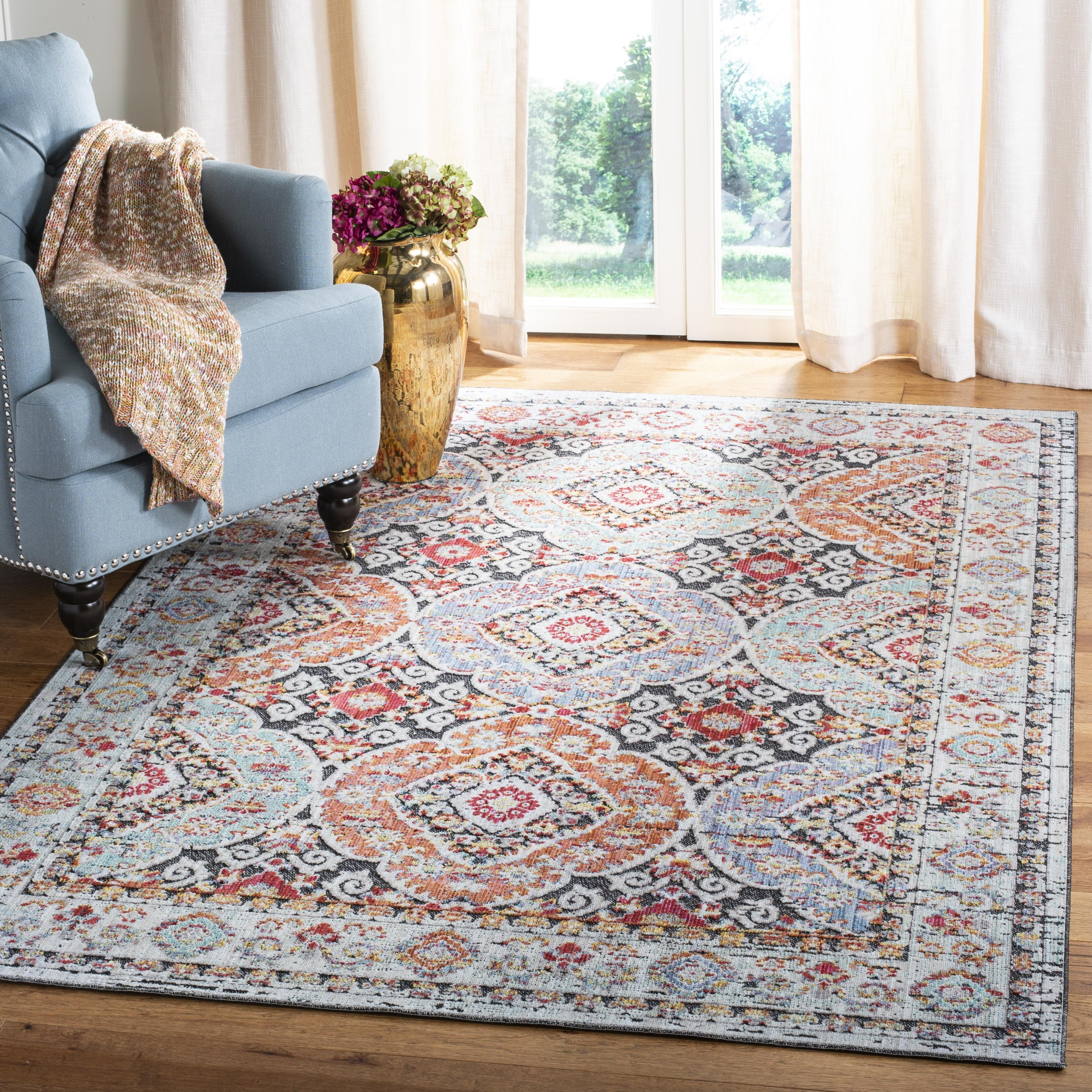 World Menagerie Younes Oriental Light Blue Red Area Rug Wayfair