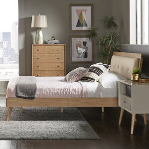 Angelo Tufted Linen Queen Upholstered Platform Bed by Langley Street