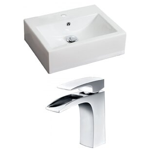 Top Reviews Ceramic Rectangular Vessel Bathroom Sink with Faucet and Overflow ByAmerican Imaginations