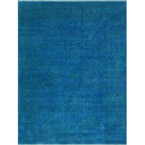 Blakeslee Oriental Hand Knotted Wool Rectangle Blue Area Rug