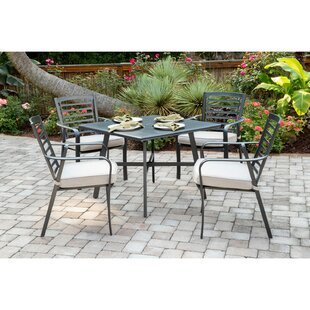 Leeson 5 Piece Sunbrella Dining Set with Cushions by Ebern Designs