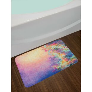 Watercolor Marigold And Purple Bath Rug