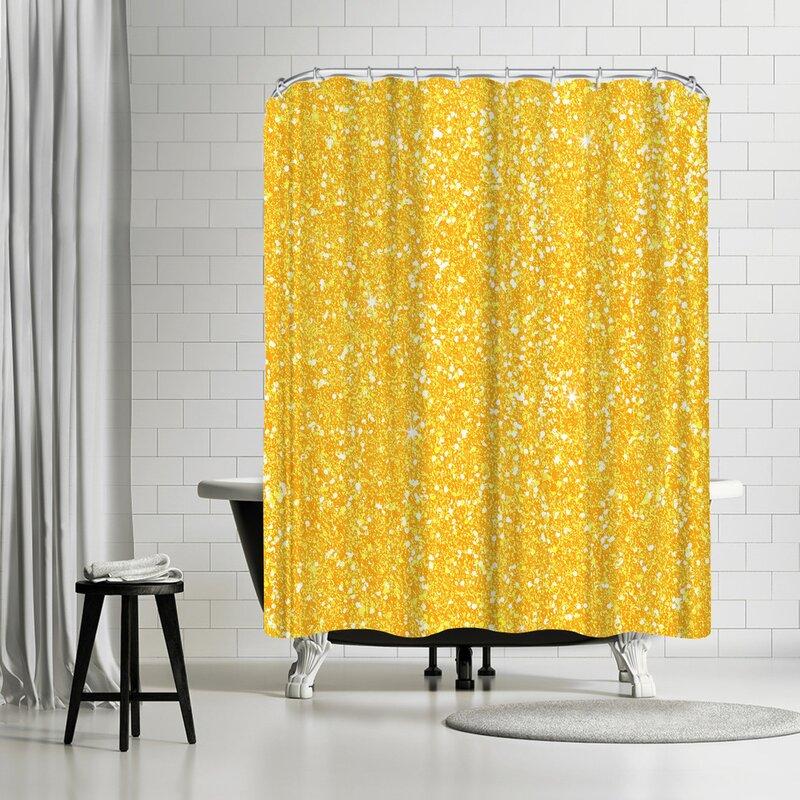 Wonderful Dream Yellow Shiny Diamond Shower Curtain