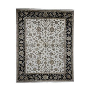 Read Reviews One-of-a-Kind Rajasthan Hand-Knotted 8'1 x 10' Wool Ivory/Black Area Rug By 1800GETARUG