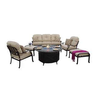 Bulter 6-Piece Sofa Seating Fire Pit Chat Set with Cushions and Pillows
