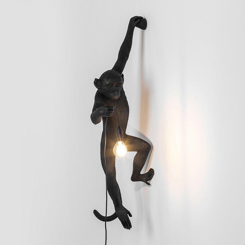 Monkey 1 Light Black Armed Sconce