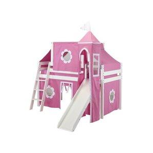 Kids Fun Princess Twin Low Loft Bed by Maxwood Furniture