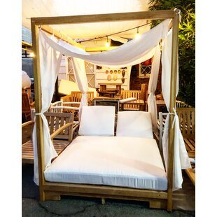 Renteria Double Reclining Teak Chaise Lounge with Cushion
