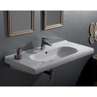 CeraStyle by Nameeks City Ceramic Rectangular Drop-In Bathroom Sink with Overflow