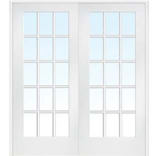 True Divided Double Solid Manufactured Wood Glass MDF Prehung French Door