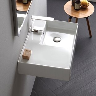Affordable Price Ceramic 32'' Wall Mounted Bathroom Sink with Overflow By Scarabeo by Nameeks