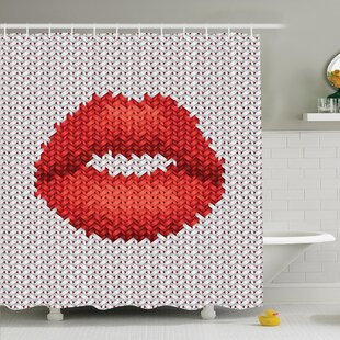 Embroidery Effect Lips Shower Curtain Set by Ambesonne Cheap