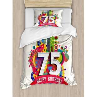 75th Birthday Decorations Festive Geometric Cartoon Style Label Vibrant Duvet Cover Set