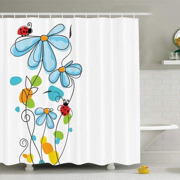 Zoomie Kids Lizbeth Cartoon Ladybugs Flowers Shower Curtain Set | Wayfair