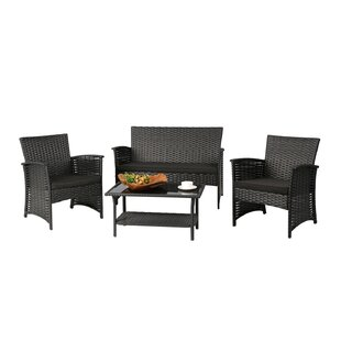 Winston Porter Leidig Outdoor Complete 4 Piece Rattan Sofa Seating Group