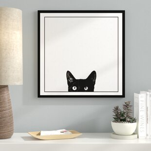 Curiosity Black Cat Black And White Photograph Of Kitty Kitten Peeking Framed Graphic Art On Canvas Print On Canvas Poster