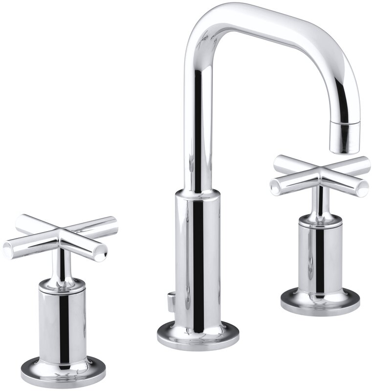 Purist Widespread Bathroom Sink Faucet With Low Cross Handles And Gooseneck Spout