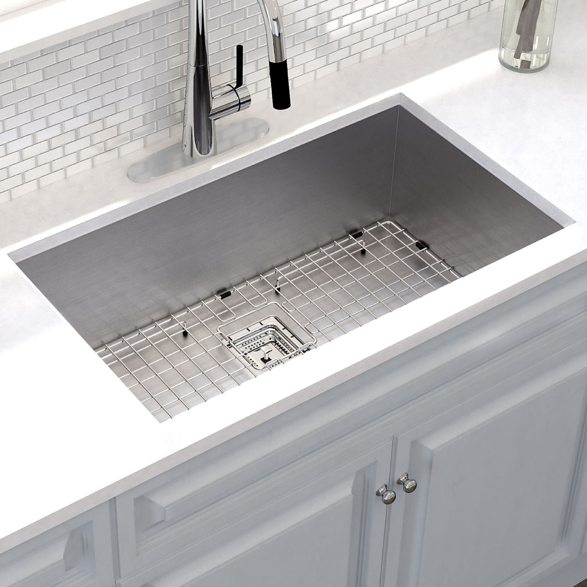 Khu32 Kraus Pax 31 X 18 Undermount Kitchen Sink With Drain Embly Reviews Wayfair