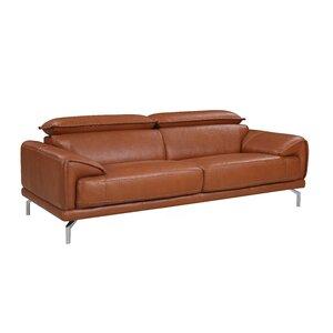 Genial Tawny Mid Century Modern Top Grain Leather Sofa